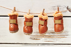 Dog`s shoes hanging on clothesline. Stock Photography