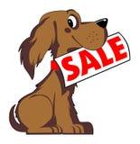 Dog sale. Cartoon style dog sale in Stock Photo