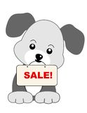 Dog sale. Cute dog holding sale message board. specially for pet  shops Stock Image