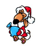 Dog Santa Claus dachshund funny cartoon Royalty Free Stock Photo