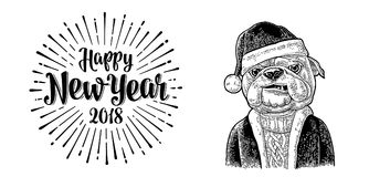 Dog Santa claus in hat, coat. Happy New Year lettering. Dog Santa claus in hat, coat, sweater. Happy New Year 2018 calligraphy lettering with salute. Vintage Royalty Free Stock Images
