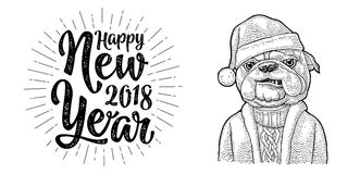 Dog Santa claus in hat, coat. Happy New Year lettering. Dog Santa claus in hat, coat, sweater. Happy New Year 2018 calligraphy lettering with salute. Vintage Royalty Free Stock Image