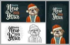 Dog Santa claus in hat, coat. Happy New Year lettering. Dog Santa claus in hat, coat, sweater. Happy New Year 2018 calligraphy lettering. Vintage black and color Royalty Free Stock Photo