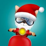 Dog Santa Claus on a scooter with rockets in hand. Cute Dog Santa Claus on a scooter in ski mask. New Year vacation and Merry Christmas concept. Realistic 3D stock illustration