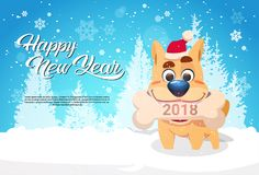 Dog In Santa Hat Holding Bone With 2018 Sign Over Winter Forest Happy New Year Greeting Banner With Copy Space. Flat Vector Illustration vector illustration