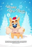 Dog In Santa Hat Holding Bone With 2018 Sign Over Winter Forest Happy New Year Greeting Card Design. Flat Vector Illustration stock illustration
