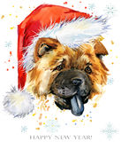 Dog in santa hat watercolor illustration. Happy New Year greeting card. Christmas Tee shirt template design