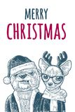 Dog Santa hug deer. Happy New Year lettering. Dog Santa claus in hat, coat, sweater hug deer with glasses, scarf, horns, coat. Merry Christmas handwriting Stock Photos