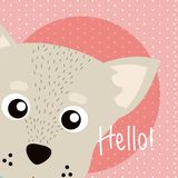 Dog Cute animal cartoon. Dog Saying hello cartoon vector illustration graphic design Stock Photography