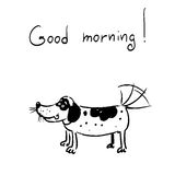 The dog says good morning. The vector picture. EPS 8 Stock Photos