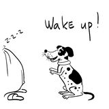 The dog says wake up. The vector picture. EPS 8 Royalty Free Stock Image