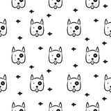 Dog scandinavian seamless vector monochrome pattern. Royalty Free Stock Photos