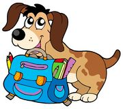 Dog with school bag Royalty Free Stock Photo