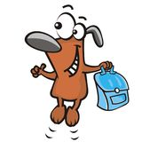 Dog and schoolbag Royalty Free Stock Photos