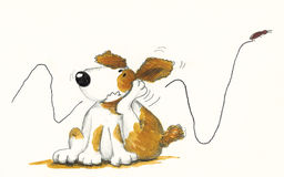 Dog Scratching. Hand made illustration of dog Scratching Royalty Free Stock Photos