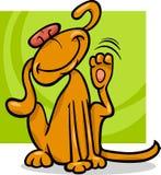 Dog scratching ear cartoon illustration Royalty Free Stock Photos