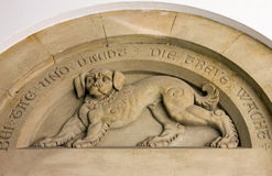 Dog sculptural image in the castle Neuschwanstein, Bavaria, Germ Royalty Free Stock Photo