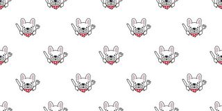 Dog seamless pattern french bulldog chef food kitchen polka dot scarf cartoon character illustration repeat wallpaper tile stock illustration