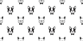 Dog seamless pattern french bulldog pug isolated Bow tie puppy cartoon vector wallpaper. Background royalty free illustration