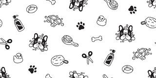 Dog seamless pattern french bulldog vector bath shower rubber duck scarf isolated cartoon repeat wallpaper tile background illustr. Ation white doodle cute vector illustration
