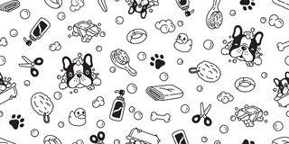 Dog seamless pattern french bulldog vector bath shower rubber duck scarf isolated repeat wallpaper tile background cartoon illustr. Ation white doodle cute stock illustration