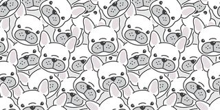 Dog seamless pattern french bulldog vector scarf isolated wallpaper background cartoon doodle. Dog seamless pattern french bulldog vector scarf isolated royalty free illustration