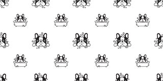 Dog seamless pattern french bulldog vector shower bath rubber duck scarf isolated repeat wallpaper tile background cartoon illustr. Ation white doodle cute vector illustration