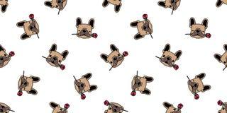 Dog seamless pattern french bulldog vector valentine rose flower tile background cartoon scarf isolated repeat wallpaper. Dog seamless pattern french bulldog vector illustration
