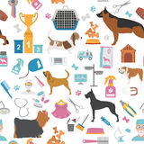Dog seamless pattern. Heatlh care, vet, nutrition, exhibition Stock Photo