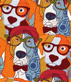 Dog seamless pattern patchwork. Stock Photo