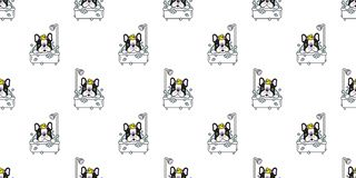 Dog seamless pattern vector bath french bulldog shower rubber duck cartoon scarf isolated tile background repeat wallpaper illustr. Ation cute vector illustration