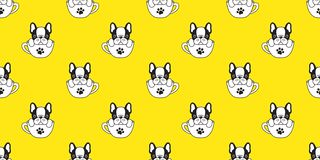 Dog seamless pattern vector french bulldog pug isolated cup background puppy cartoon yellow wallpaper. Dog seamless pattern vector french bulldog pug isolated vector illustration