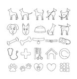Dog set line icons. Pet symbols and sign. Set in 25 line icons dog . Pet symbols and sign for veterinary or cynology firm Royalty Free Stock Photo