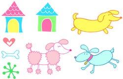 Dog Set Vector. Cute Dog Set Vector Illustration Stock Images