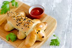 Dog shaped bread roll. Hotdog dog, hot dog sausage baked in dough royalty free stock images