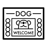 Dog shelter simple vector icon. Black and white illustration of house for Homeless dogs. Outline linear icon. Stock Photography