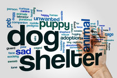 Dog shelter word cloud on grey background royalty free illustration