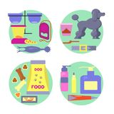 Dog shop icons set. Dog accessories icons set for pet shop, vet clinic and athens. Vector illustration eps 10 Royalty Free Stock Photo