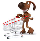 Dog shopping. Fun dog, 3d generated picture Stock Photography