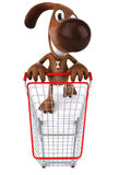Dog shopping. Fun dog, 3d generated picture Stock Images