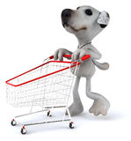 Dog shopping. Fun dog, 3d generated picture Royalty Free Stock Photography