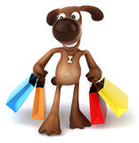 Dog shopping Stock Photo