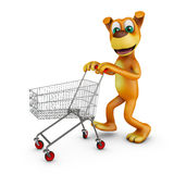 Dog with a shopping cart Stock Image