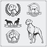 Dog Show labels, emblems, awards, illustrations and silhouettes of dogs. Black and white illustration Royalty Free Stock Image