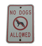 Dog sign. A sign reading: No Dogs Allowed. isolated on white background royalty free stock photography