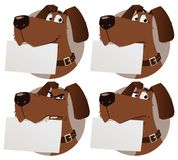 Dog with sign. Cartoon dog emotions. dog with sign. character design Royalty Free Stock Photography