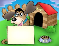 Dog with sign in front of kennel. Color illustration Stock Image