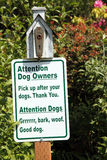 Dog sign in park, woof Royalty Free Stock Image