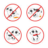 Dog signs. No and pooping vector icon