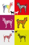 Dog silhouette with paw shapes in various  colors Stock Photo